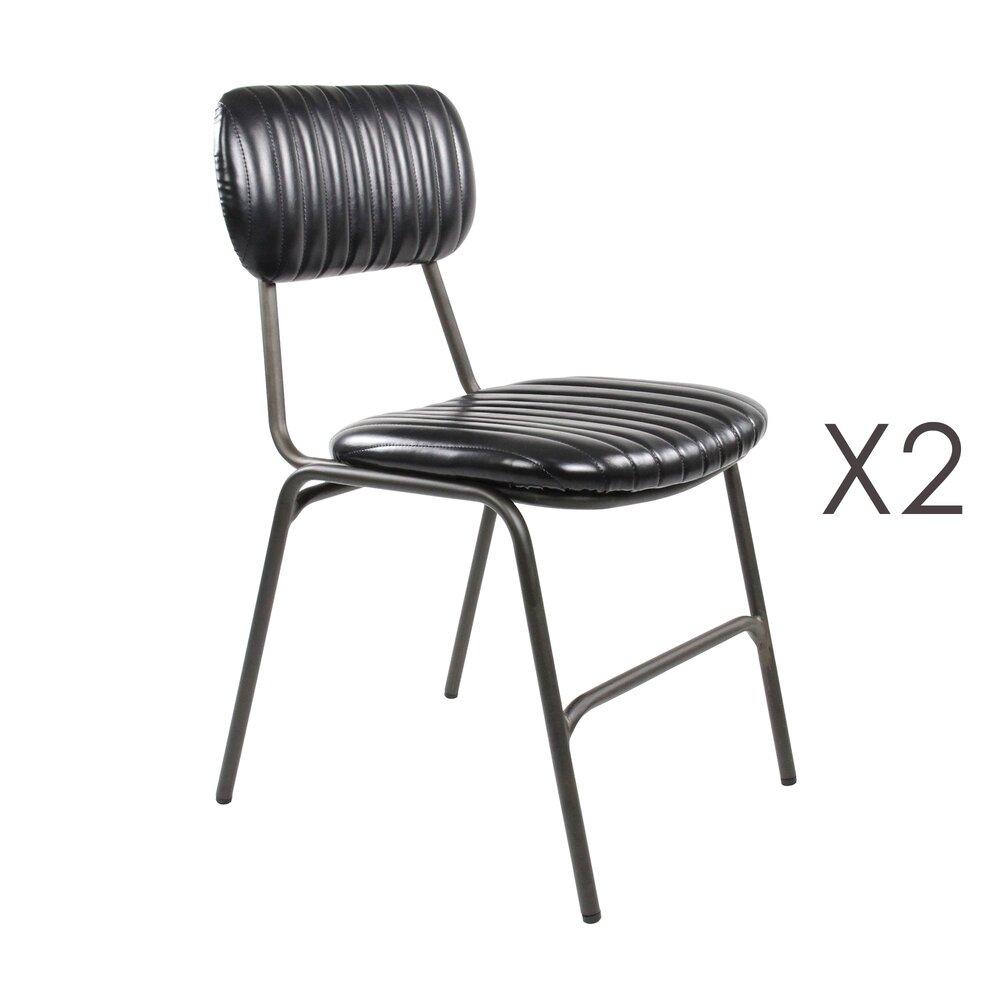Chaise - Lot de 2 chaises repas en PU noir - ALPHONSE photo 1