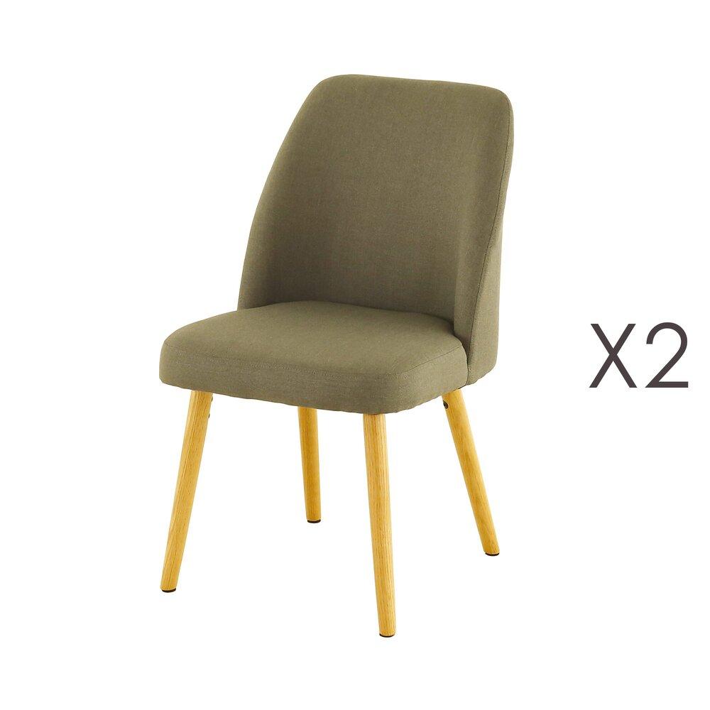 Chaise - Lot de 2 chaises repas en chêne et tissu anthracite - ADONIE photo 1