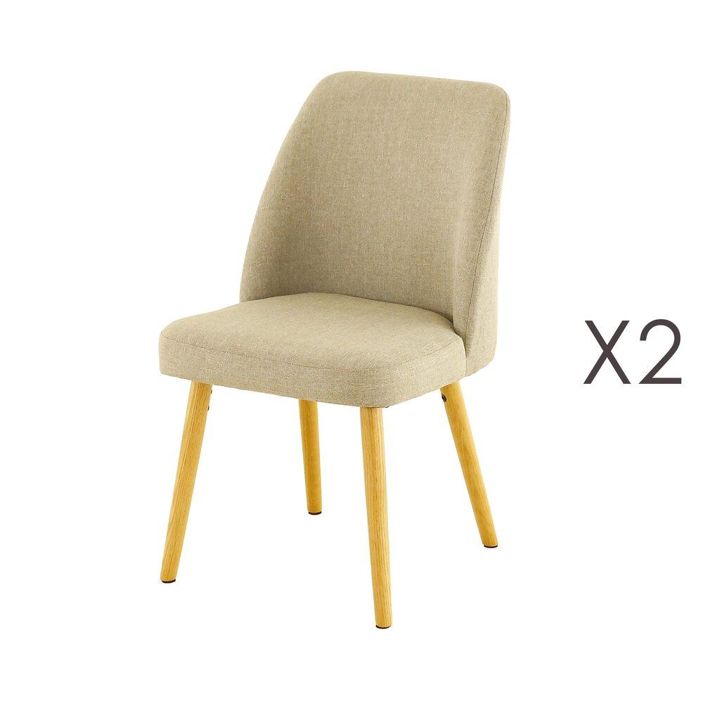 Chaise - Lot de 2 chaises repas en chêne et tissu gris clair  - ADONIE photo 1