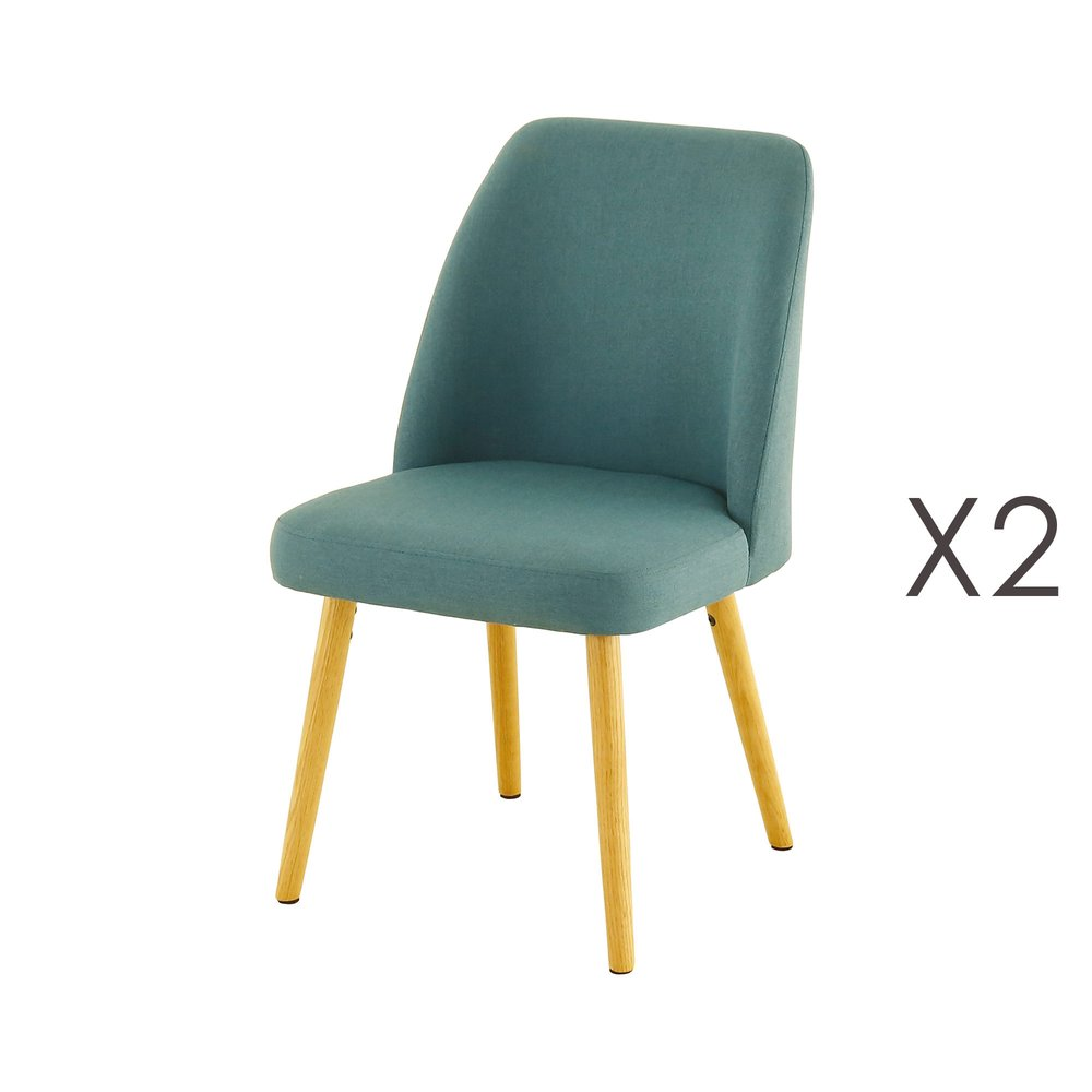 Chaise - Lot de 2 chaises repas en chêne et tissu bleu - ADONIE photo 1
