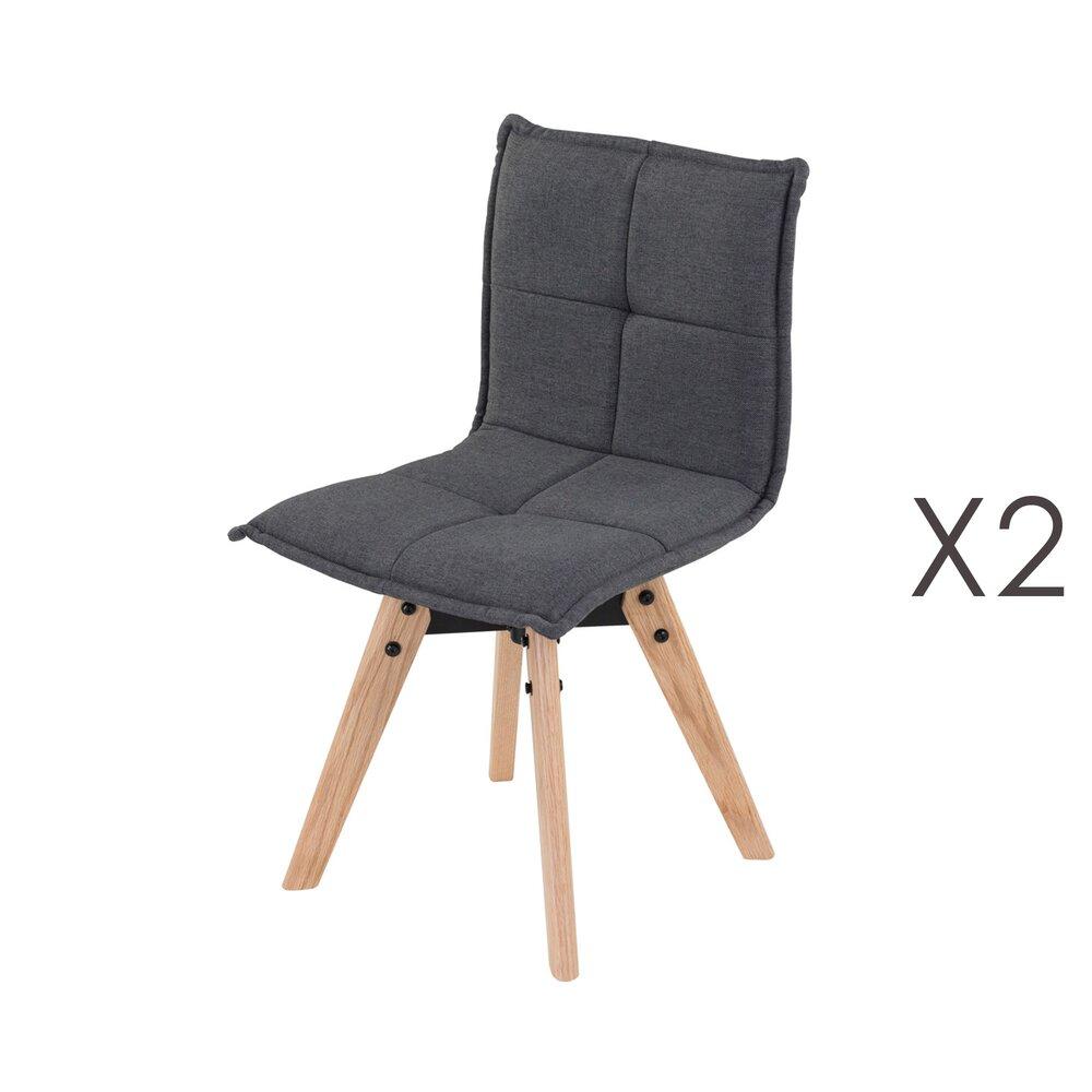 Chaise - Lot de 2 chaises repas en chêne et  tissu anthracite - DORINE photo 1