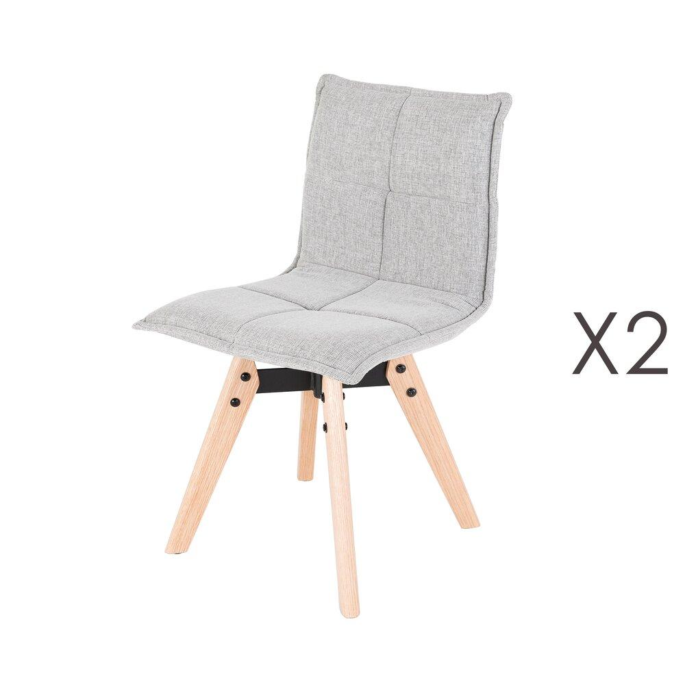 Chaise - Lot de 2 chaises repas en chêne et tissu gris clair  - DORINE photo 1