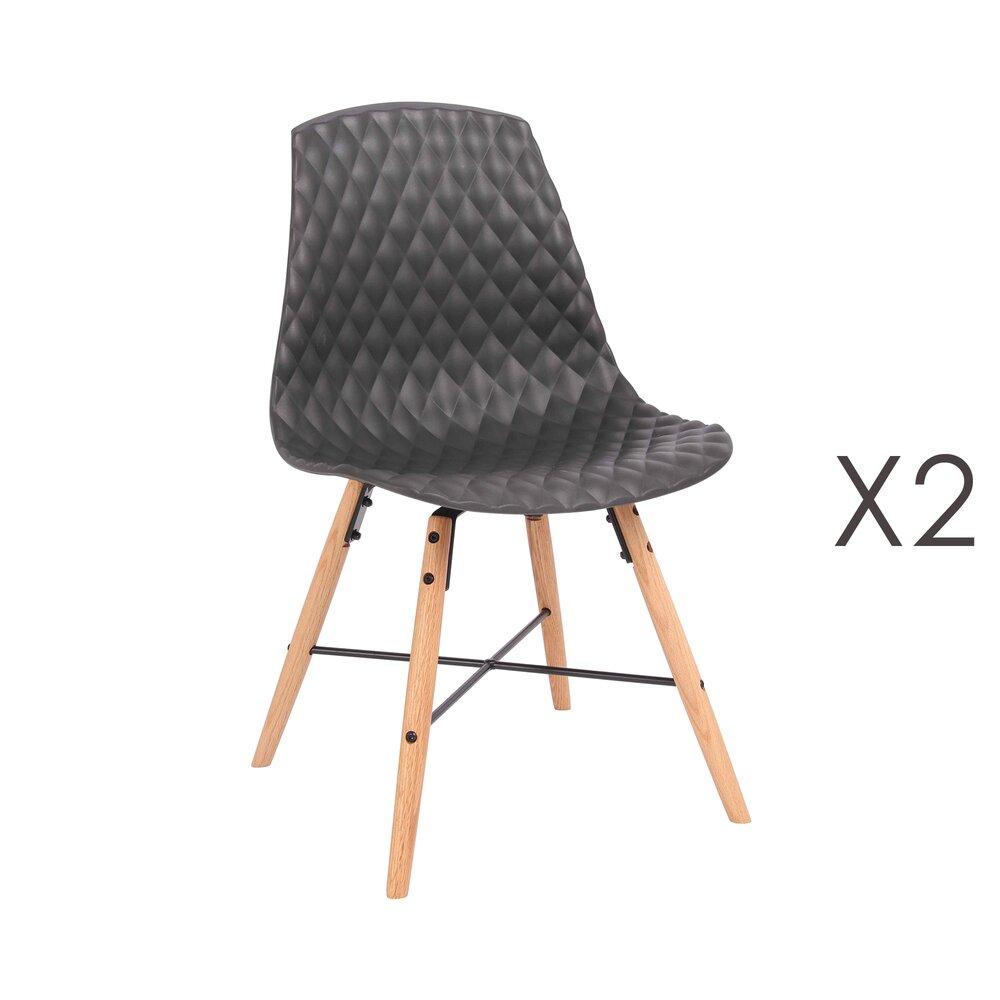 Chaise - Lot de 2 chaises repas capitonnées noir - ANATOLINE photo 1