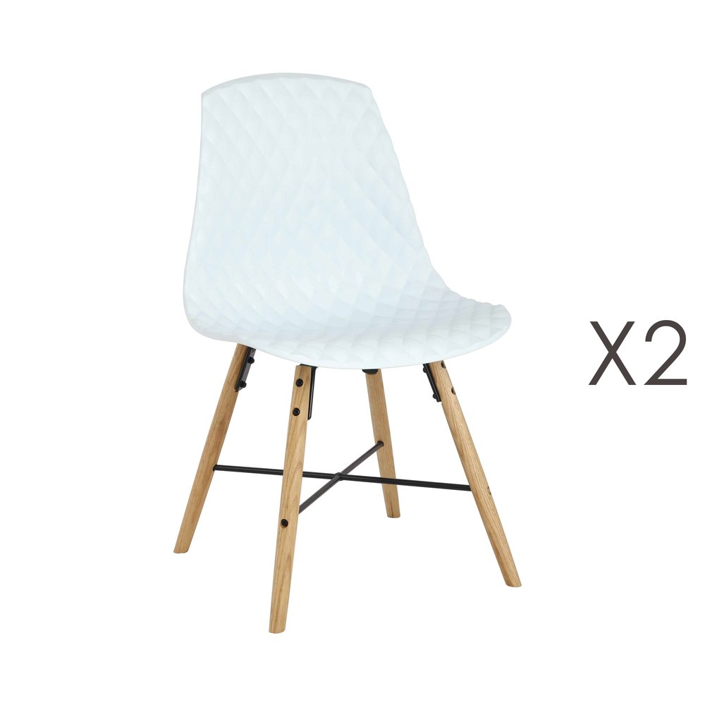 Chaise - Lot de 2 chaises repas capitonnées blanc - ANATOLINE photo 1