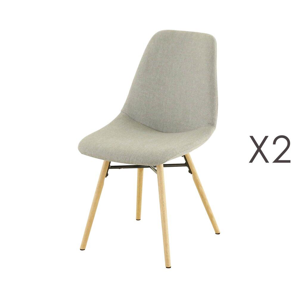 Chaise - Lot de 2 chaises de repas gris clair  -  MYA photo 1