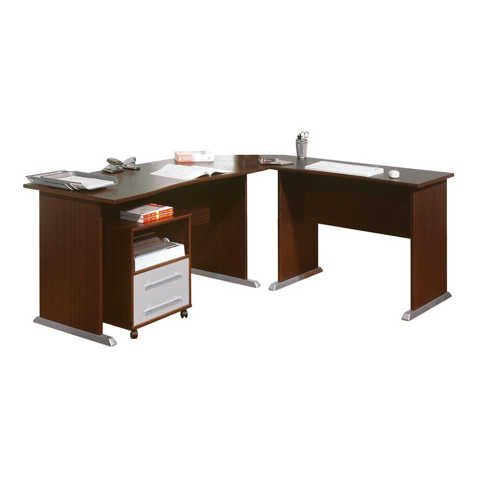Bureau Noir Et Blanc bureau d'angle avec caisson blanc et noir | maison et styles