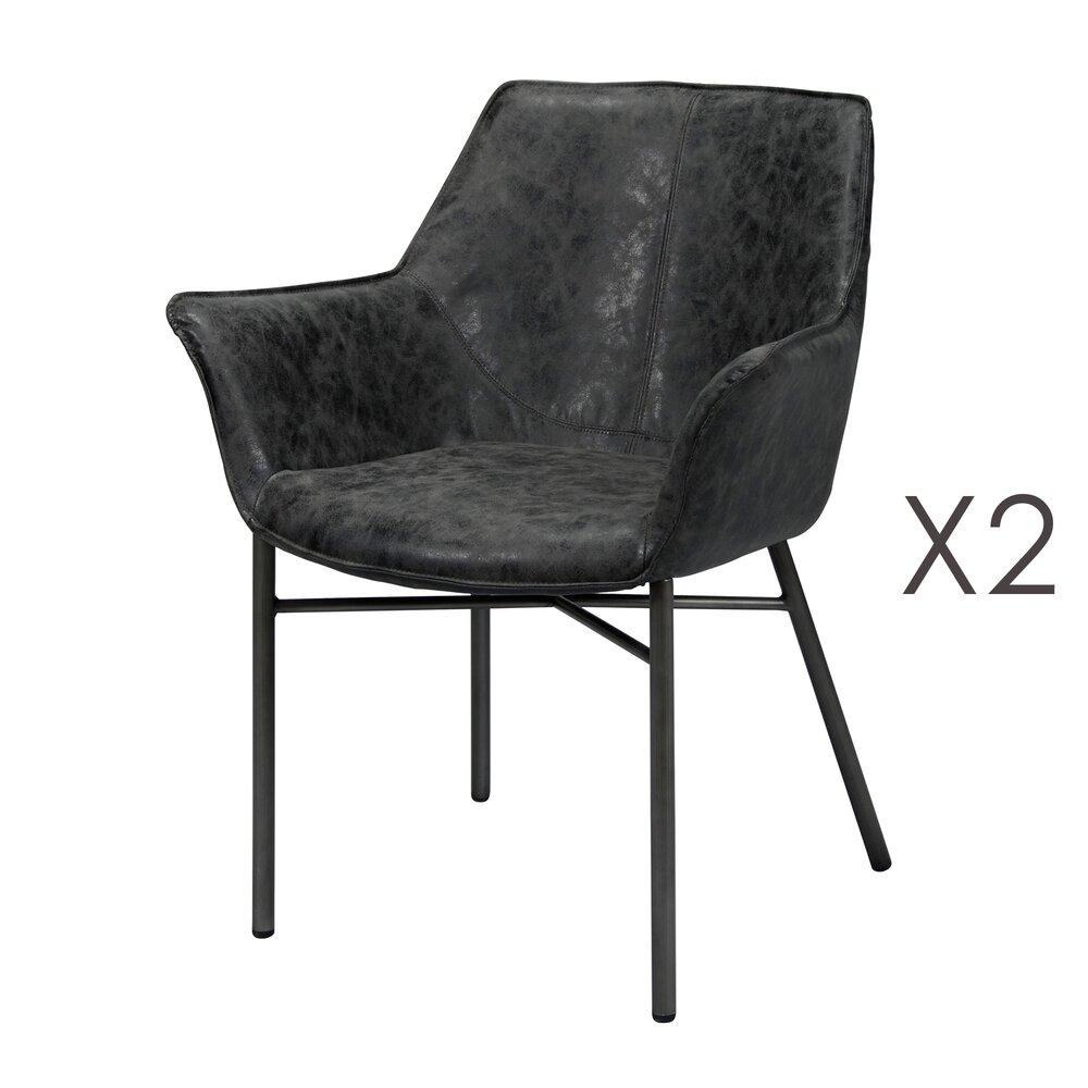 Fauteuil - Lot de 2 fauteuils en PU noir avec piétement métal gris brossé photo 1