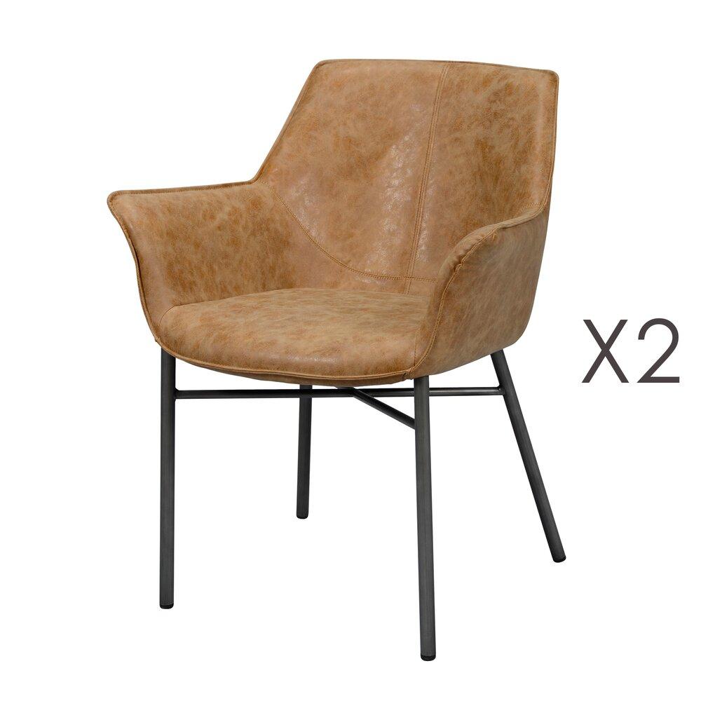 Fauteuil - Lot de 2 fauteuils en PU marron avec piétement métal gris brossé photo 1