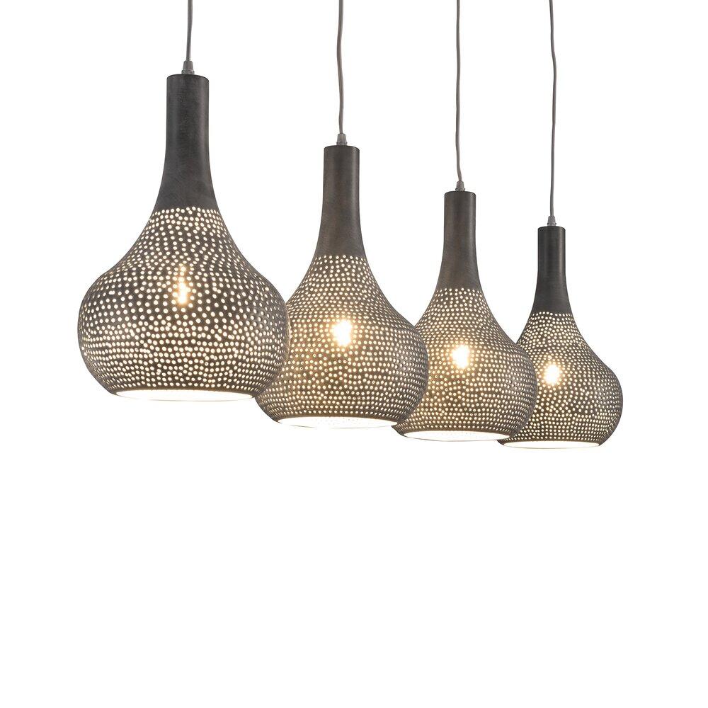 Fabriquer Une Lampe Style Industriel suspension industriel 4 lampes coniques - métal gris