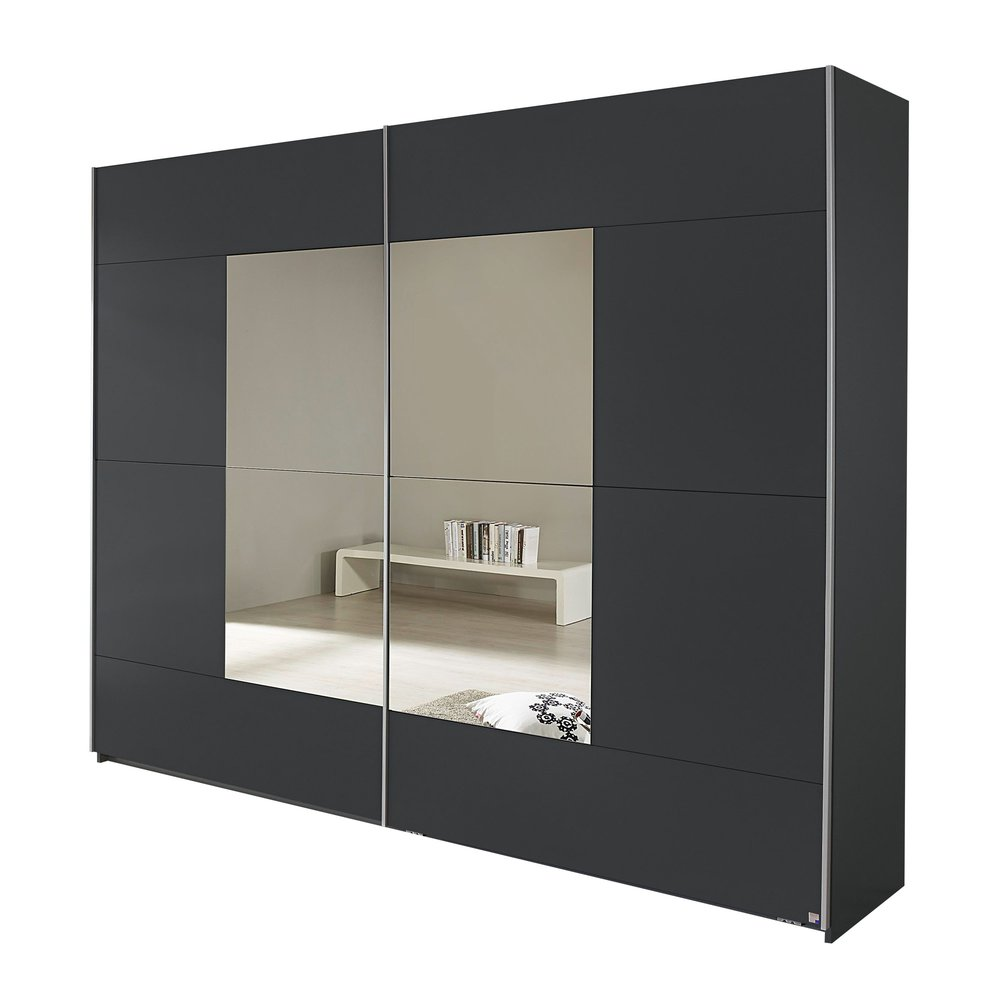 Armoire 2 Portes Avec Miroir 261x210x59cm Gris Maison Et Styles