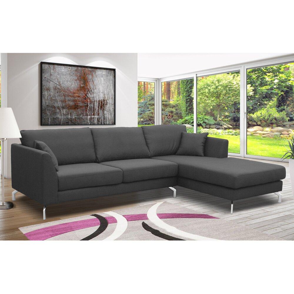 Canapé - Canapé d'angle à droite en tissu gris - INES photo 1