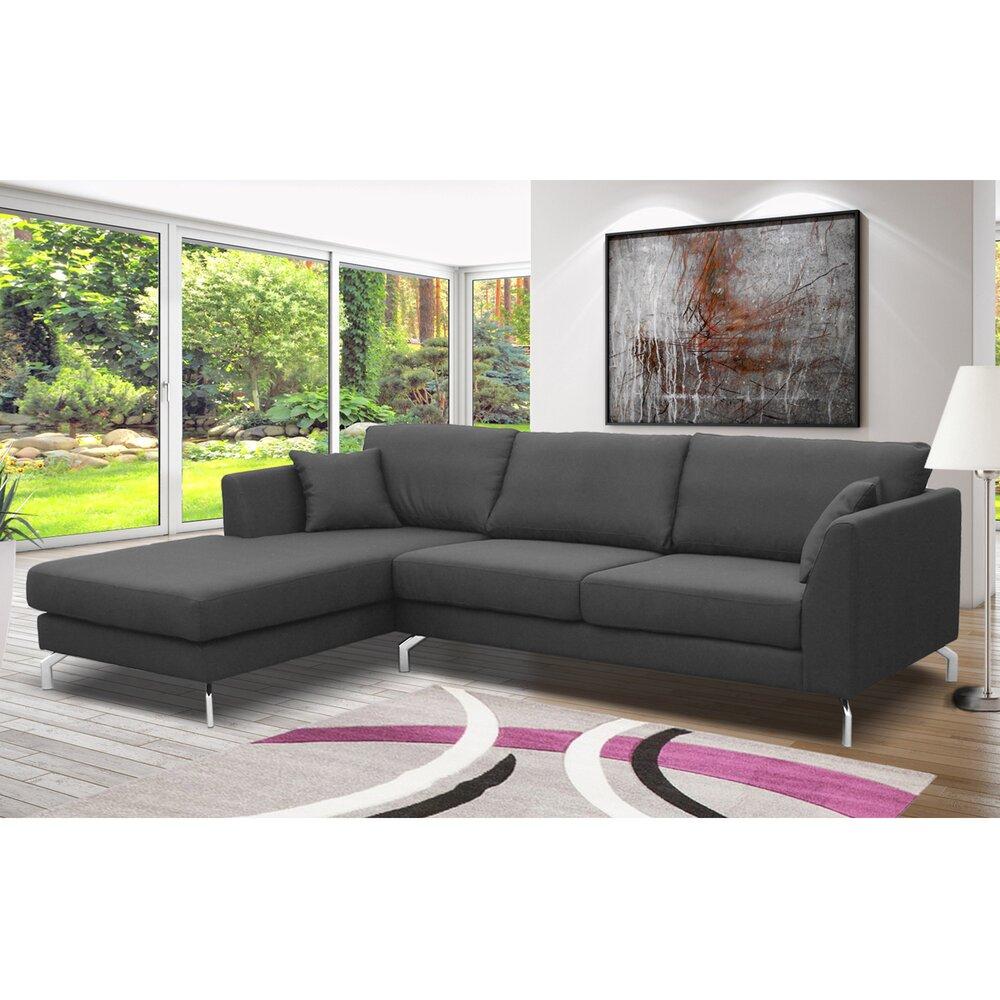 Canapé - Canapé d'angle à gauche en tissu gris - INES photo 1