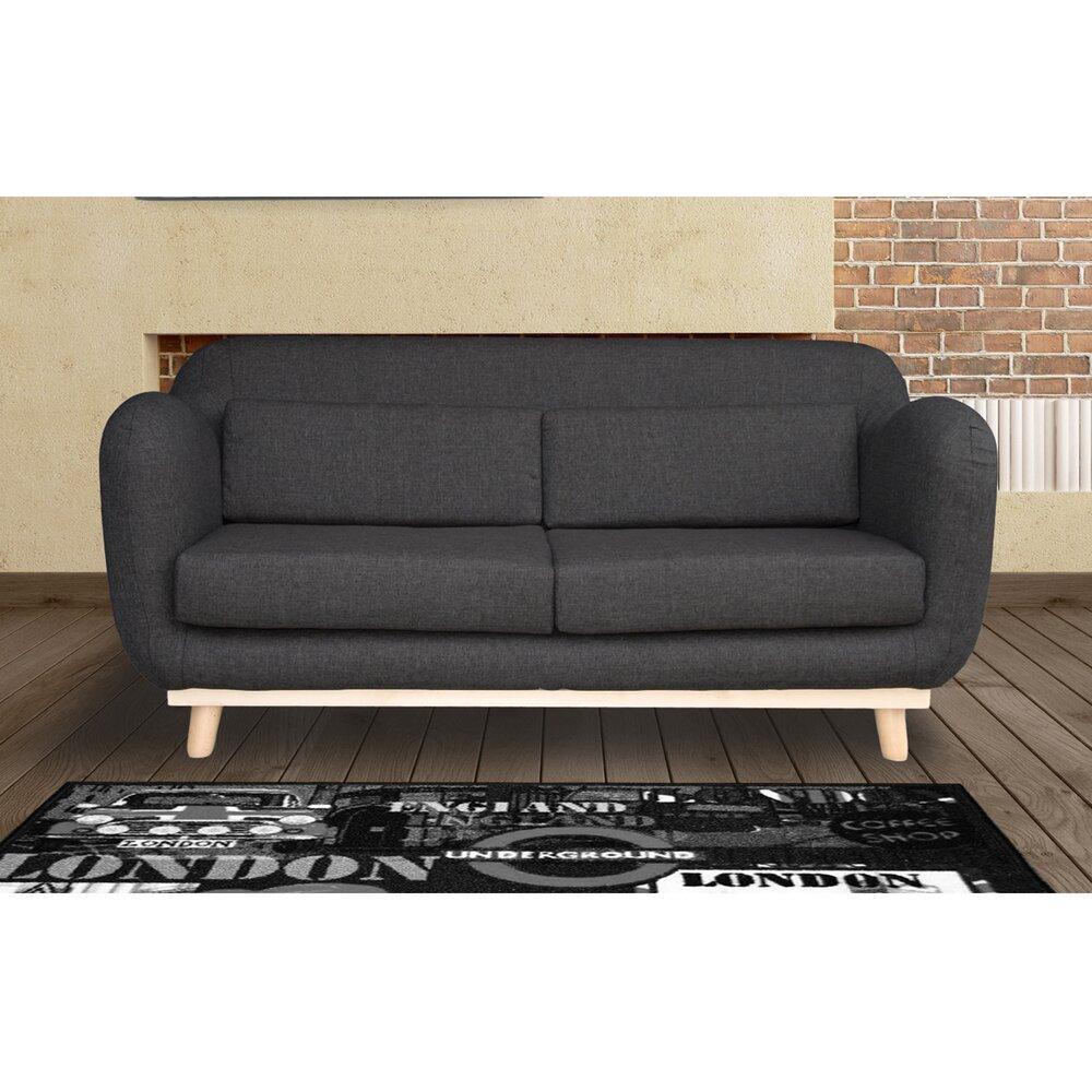 Canapé - Canapé 3 places fixes pieds bois en tissu - coloris anthracite noir photo 1