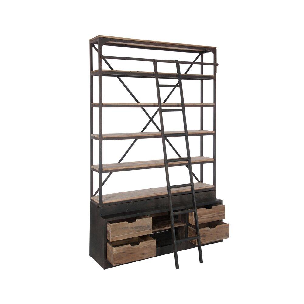 Deco Avec Une Echelle En Bois bibliothèque 4 étagères avec échelle en bois et métal