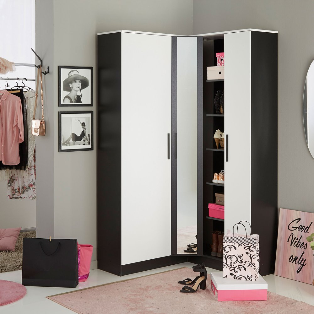 Meuble A Chaussures Angle 2 Portes Avec Miroir Noir Maison Et Styles