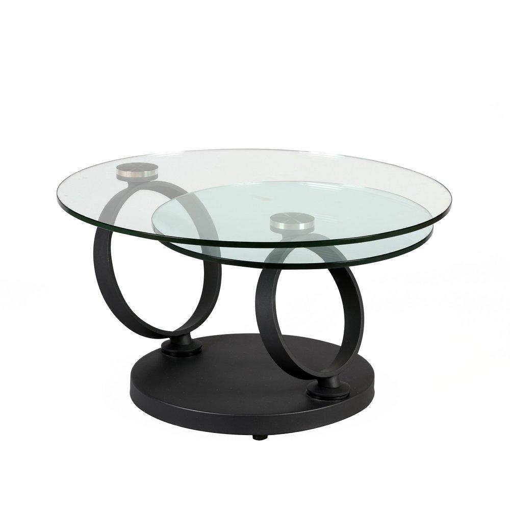 Table Basse Ronde En Verre Trempe Et Pied Anthracite