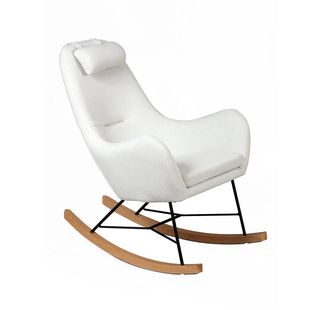 Fauteuil - Rocking chair en tissu beige - ANSELME photo 1