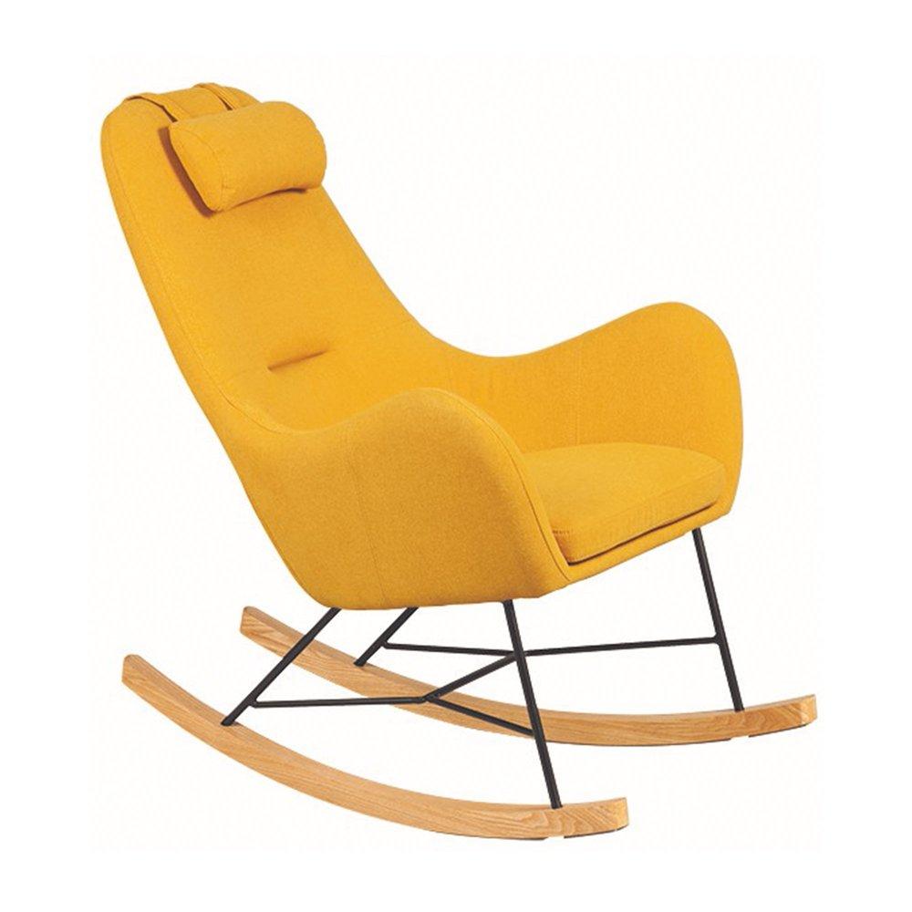 Fauteuil - Rocking chair en tissu jaune - ANSELME photo 1