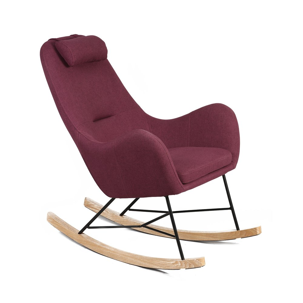 Fauteuil - Rocking chair en tissu violet - ANSELME photo 1