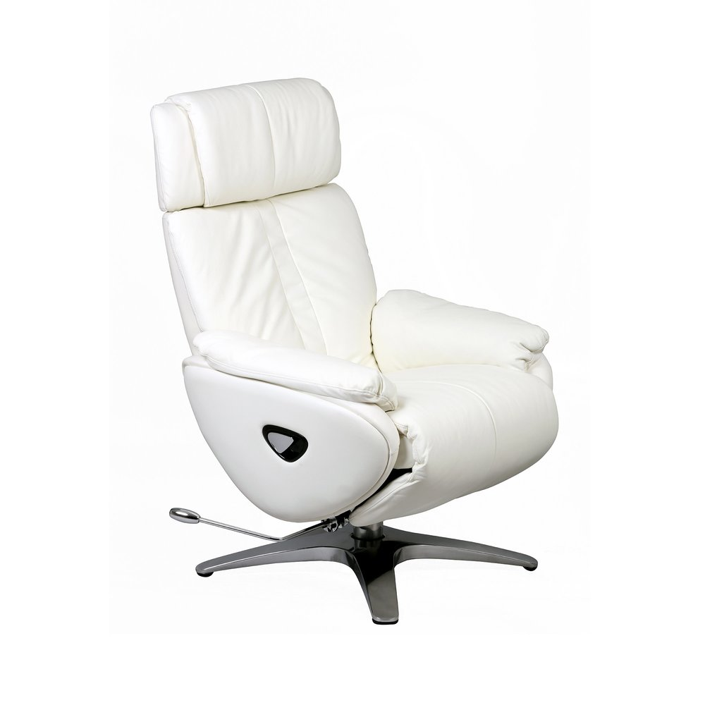 Fauteuil de relaxation - Fauteuil relax cuir blanc - MERIADEC photo 1