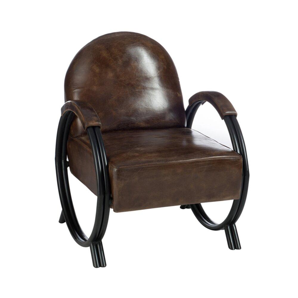 Fauteuil - Fauteuil design en cuir et métal foncé photo 1