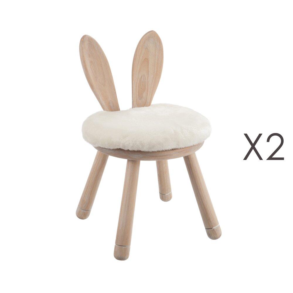 Chaise - Lot de 2 chaises lapin en bois naturel photo 1