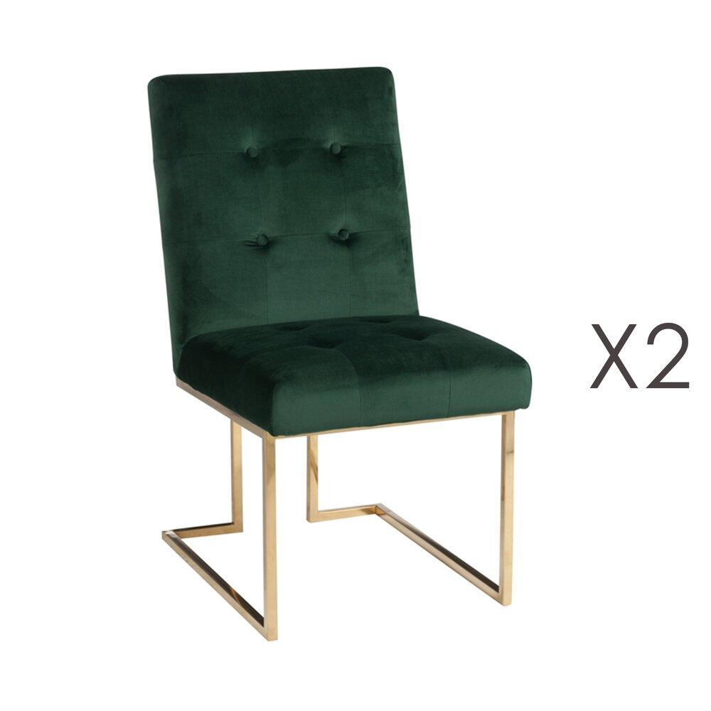 Chaise - Lot de 2 chaises en velour vert et pietement or photo 1