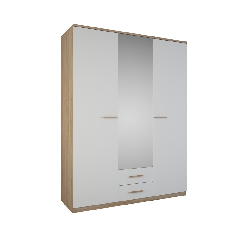 Armoire - Armoire 3 portes 2 tiroirs miroir blanc et bois naturel photo 1