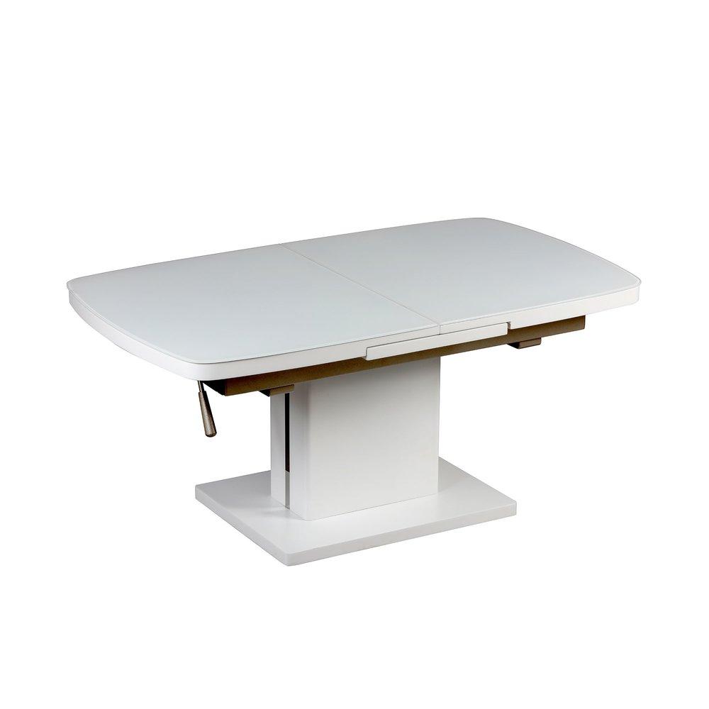 Table Basse Relevable Extensible 120 155 X 70cm En Verre Et Blanc