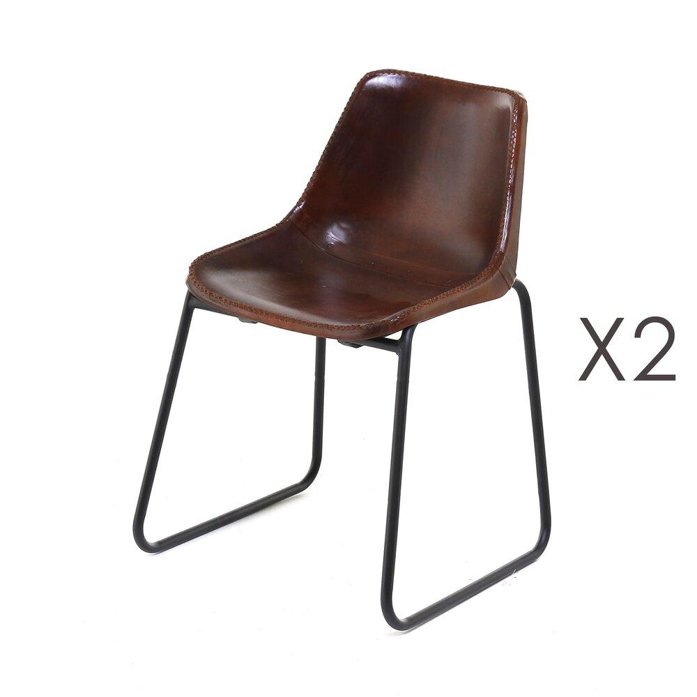 Chaise - Lot de 2 chaises repas en cuir écolier - RETRO photo 1