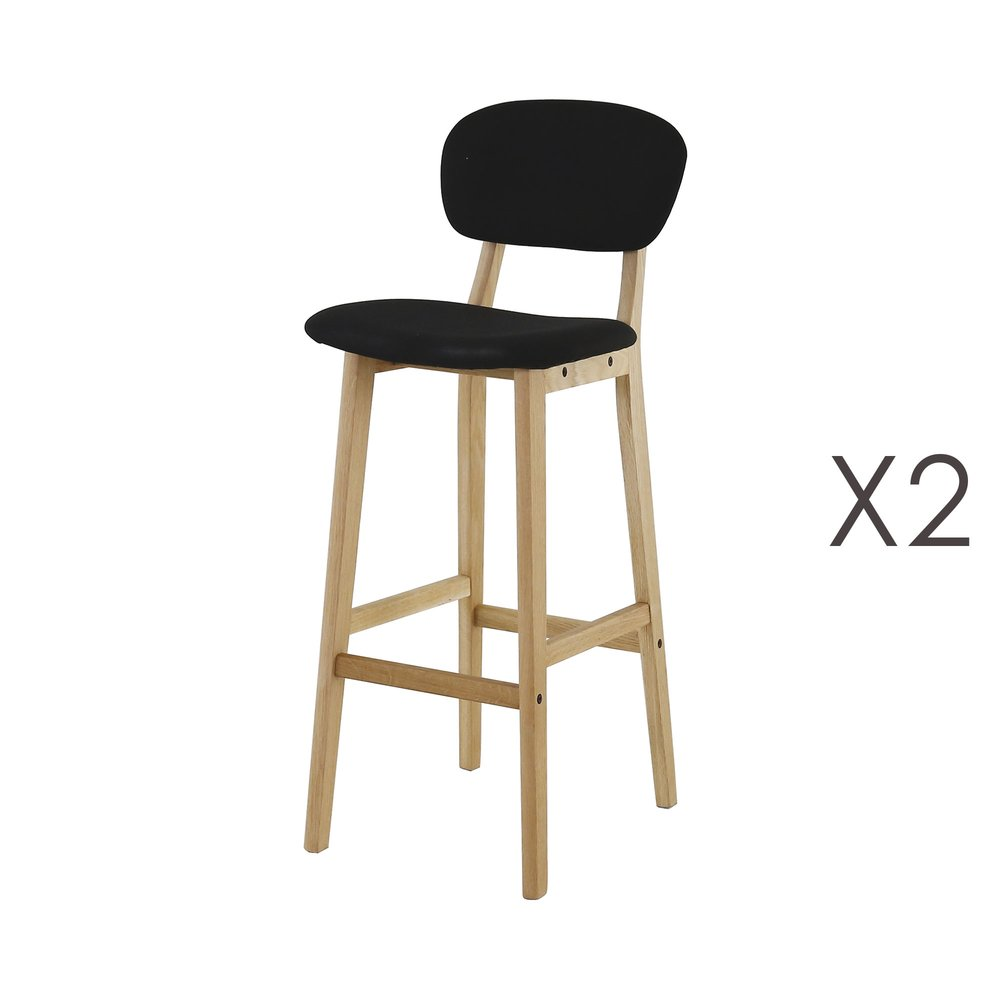 Tabouret de bar - Lot de 2 chaises de bar en tissu noir photo 1