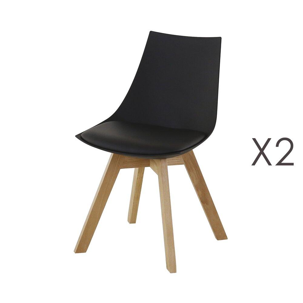 Chaise - Lot de 2 chaises repas en PU noir - YSTAD photo 1