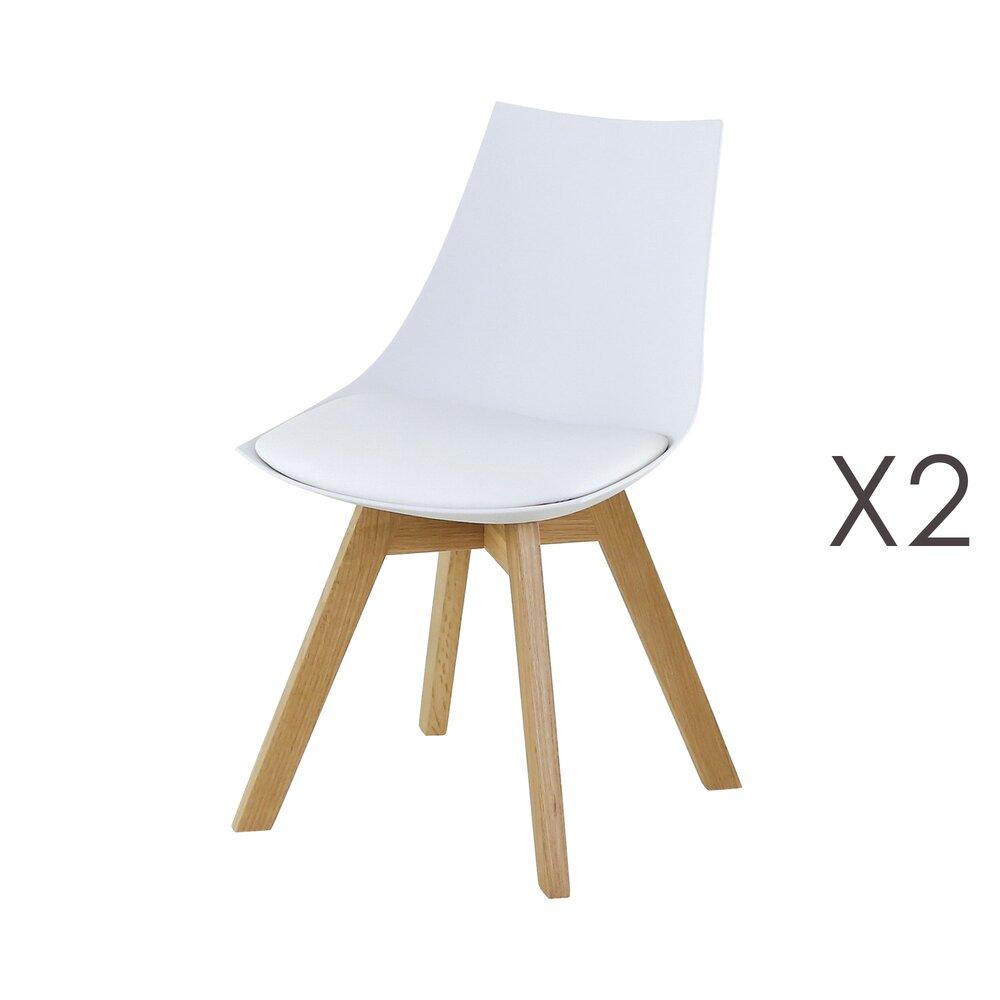Chaise - Lot de 2 chaises repas en PU blanc - YSTAD photo 1