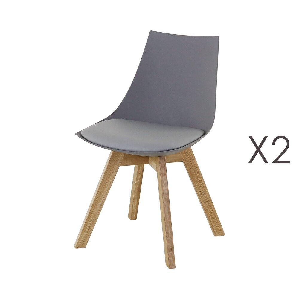Chaise - Lot de 2 chaises repas en PU gris - YSTAD photo 1