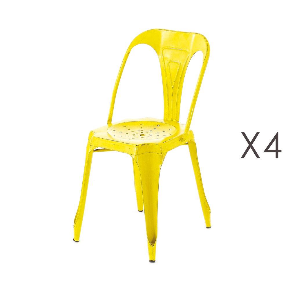 Chaise - Lot de 4 chaises métal vieilli jaune - TALY photo 1