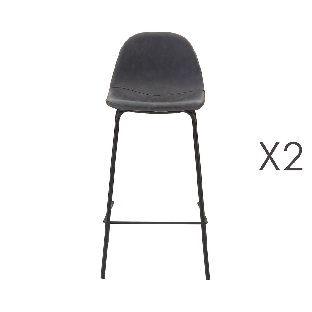 Tabouret de bar - Lot de 2 chaises de bar en PU noir vieilli - INDUSTRIO photo 1