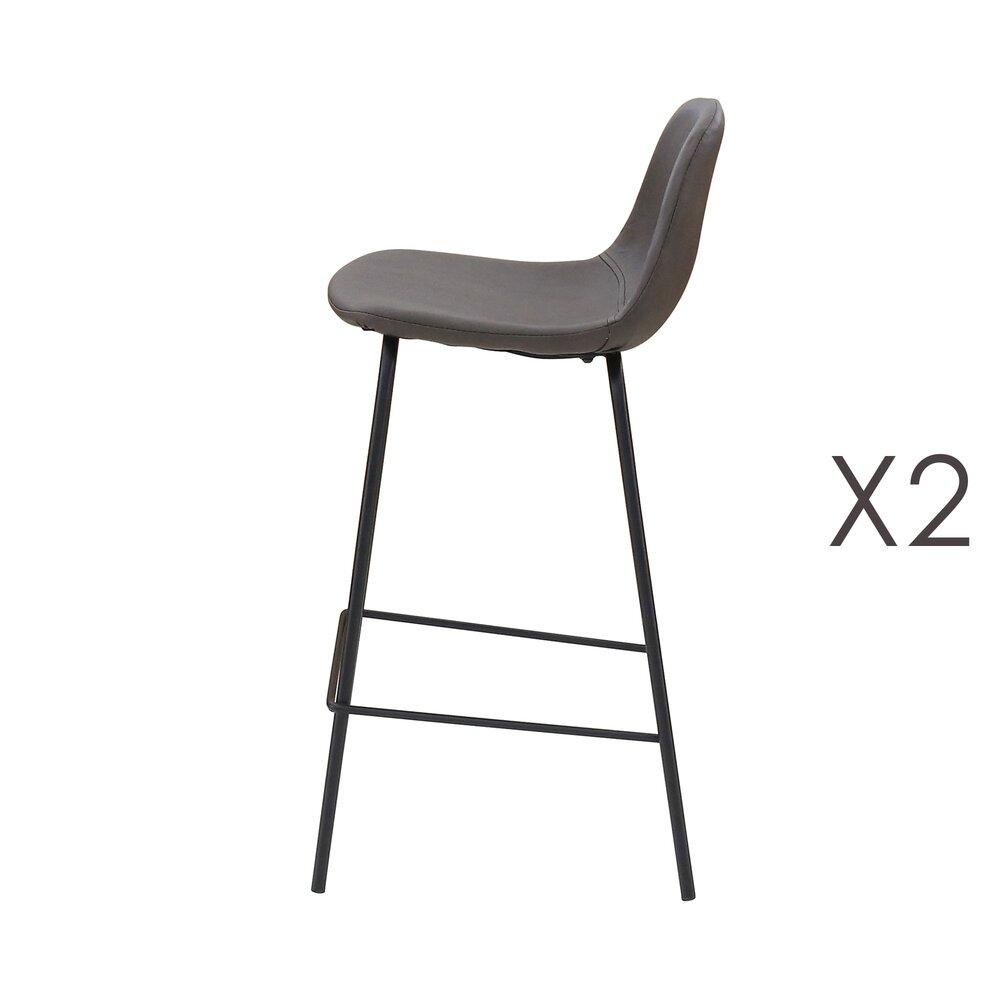 Tabouret de bar - Lot de 2 chaises de bar en PU marron vieilli - INDUSTRIO photo 1