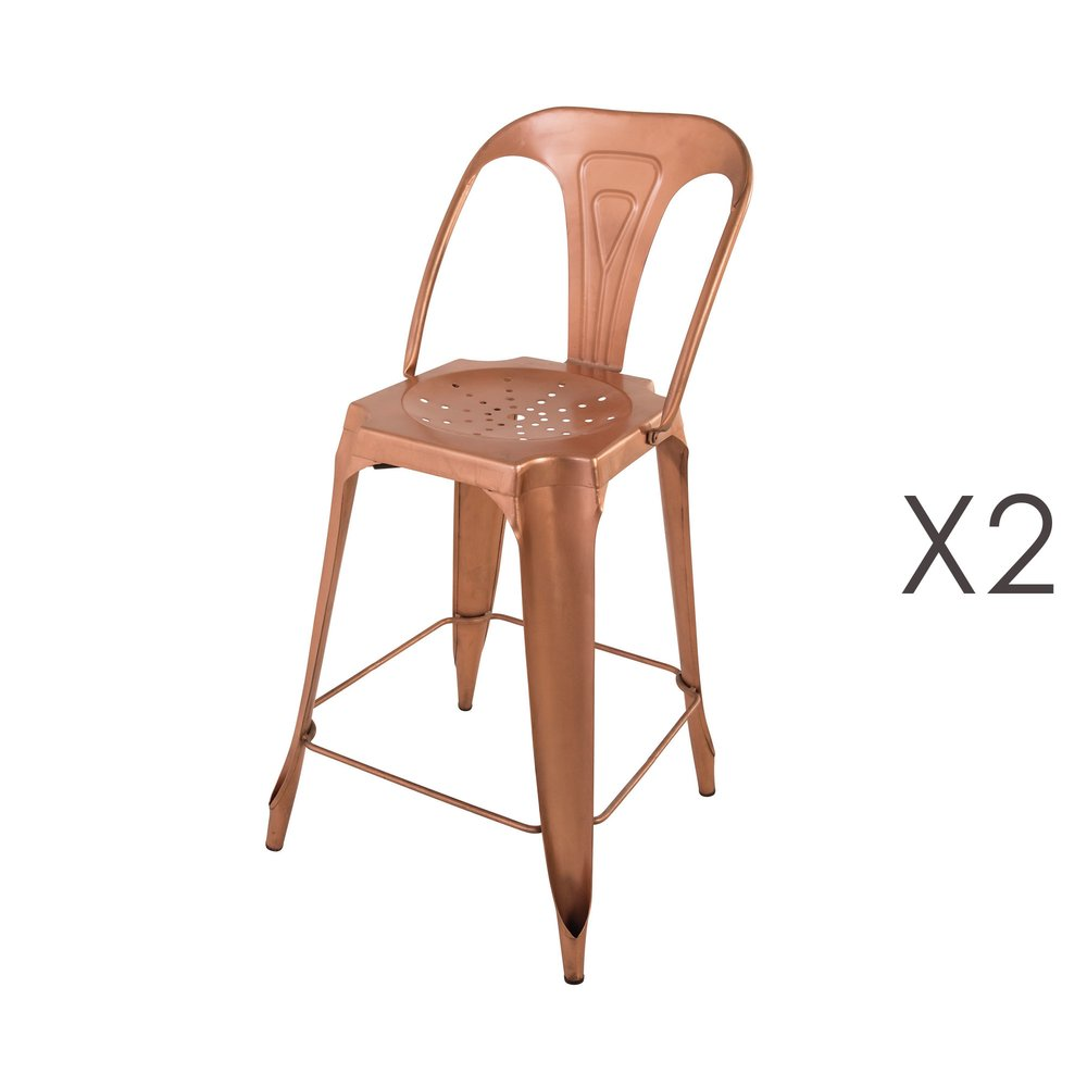 Tabouret de bar - Lot de 2 Chaises de bar cuivre brillant assise 65cm - TALY photo 1