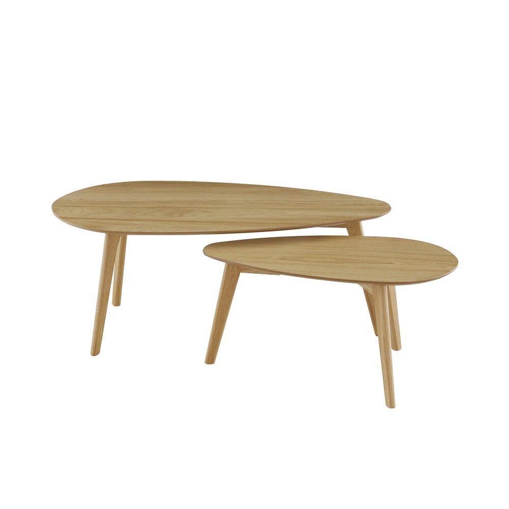 Table basse - Lot de 2 tables basses gigognes 70 et 100 cm décor chêne - BALTIC photo 1