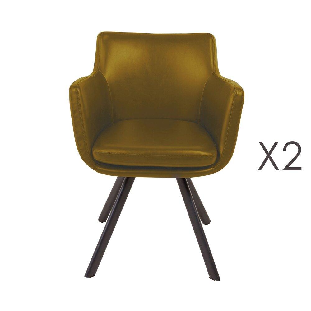 Fauteuil - Lot de 2 fauteuils repas en PU jaune - MARGOT photo 1