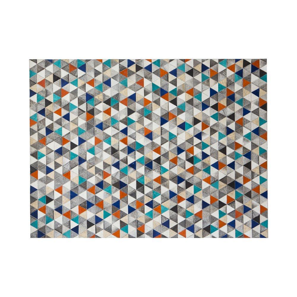 Tapis - Tapis 180x240 cm en cuir tons gris orange et bleu photo 1