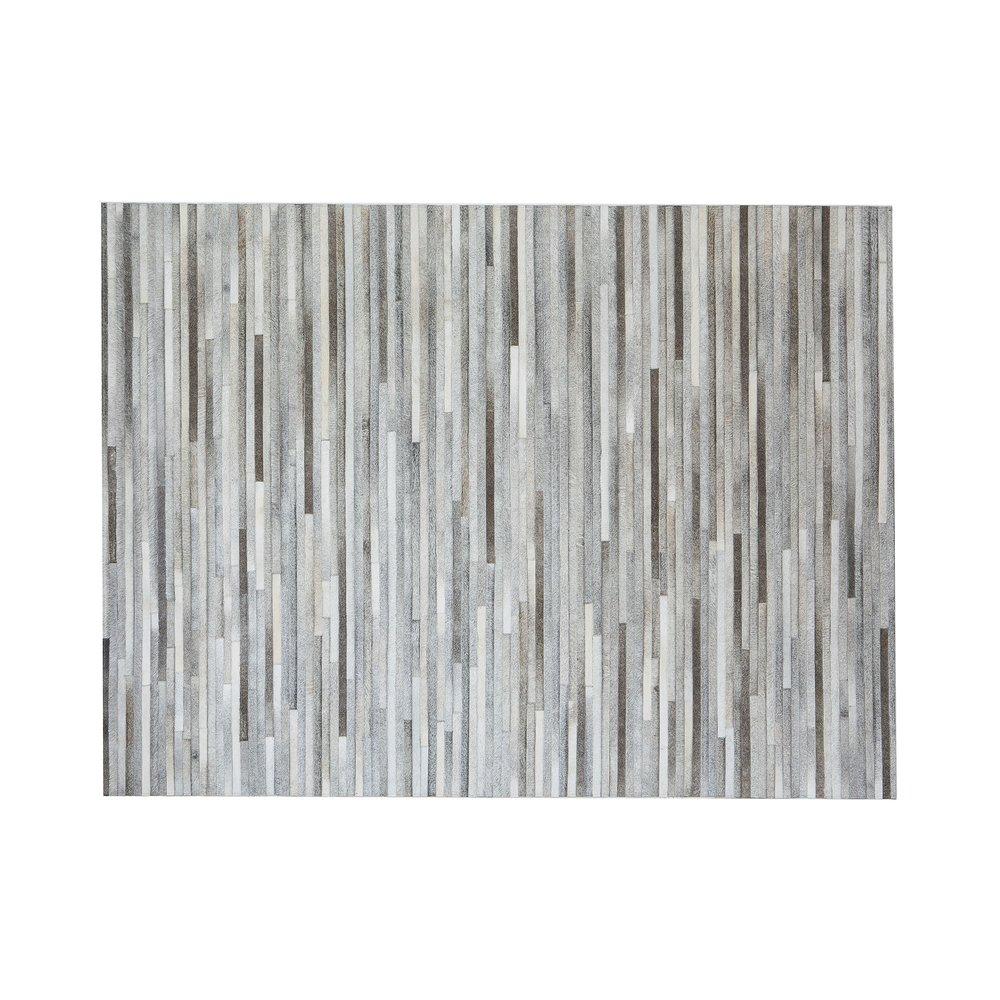 Tapis - Tapis 180x240 cm  en cuir tons gris effet parquet photo 1