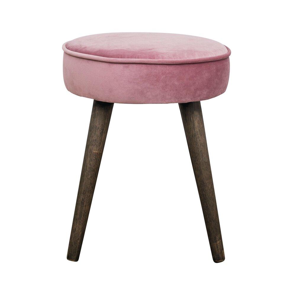 Pouf - Pouf en velours rose et piètement bois - CASANOVA photo 1