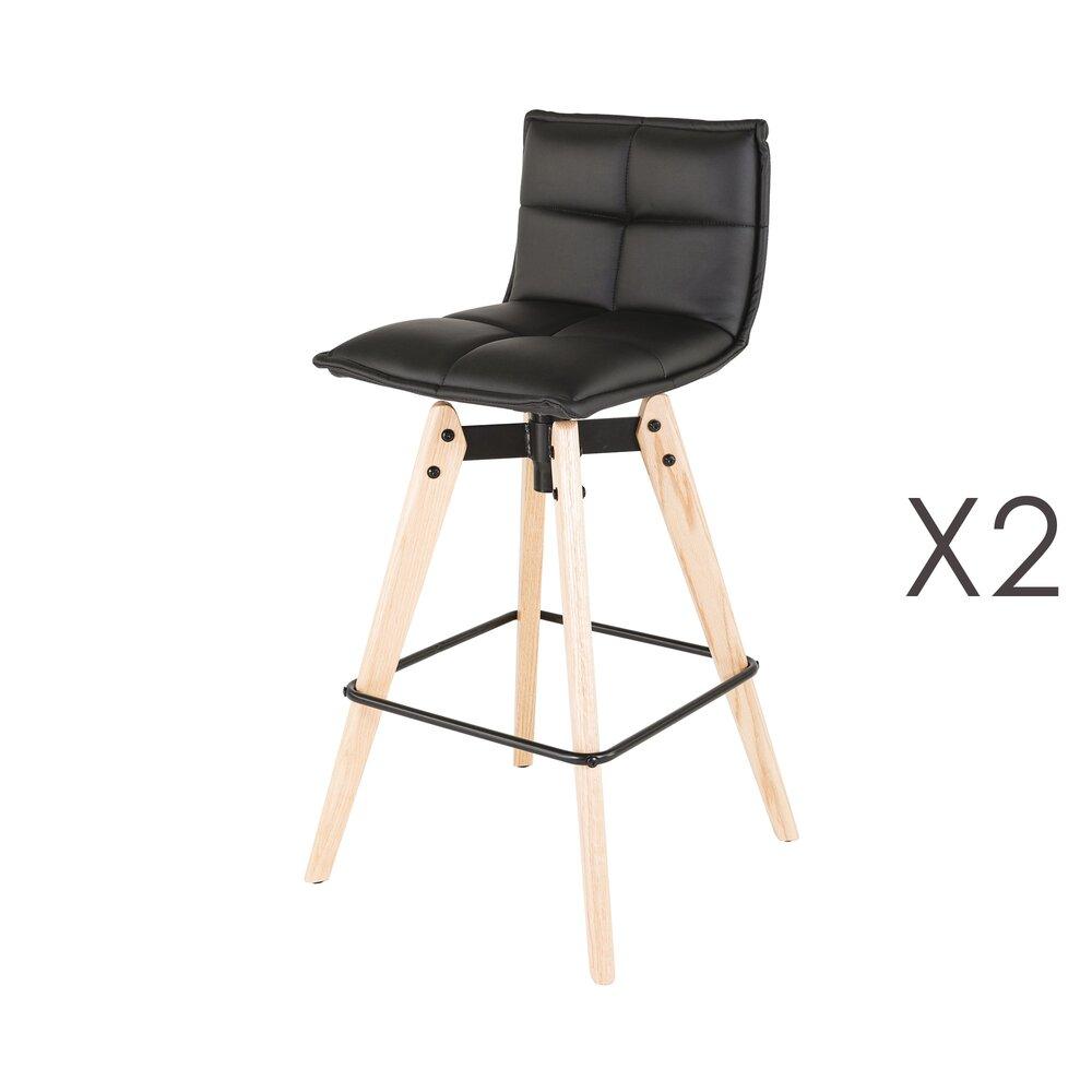 Tabouret de bar - Lot de 2 chaises de bar en PU noir et pieds chêne - KALMAR photo 1