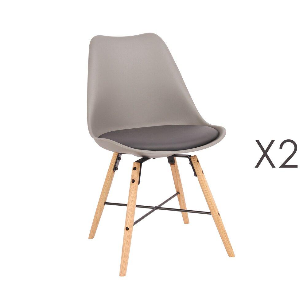 Chaise - Lot de 2 chaises repas gris piètement bois et métal - LUCIE photo 1