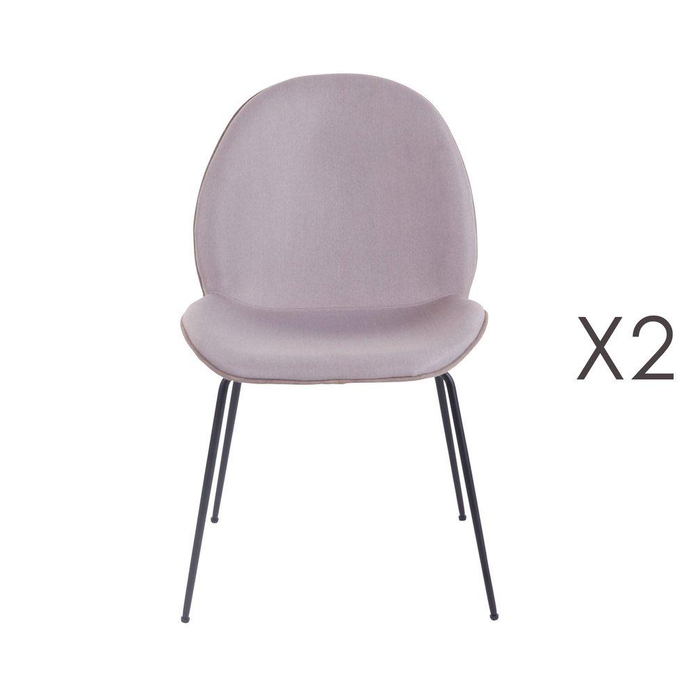 Lot de 2 chaises repas en tissu beige