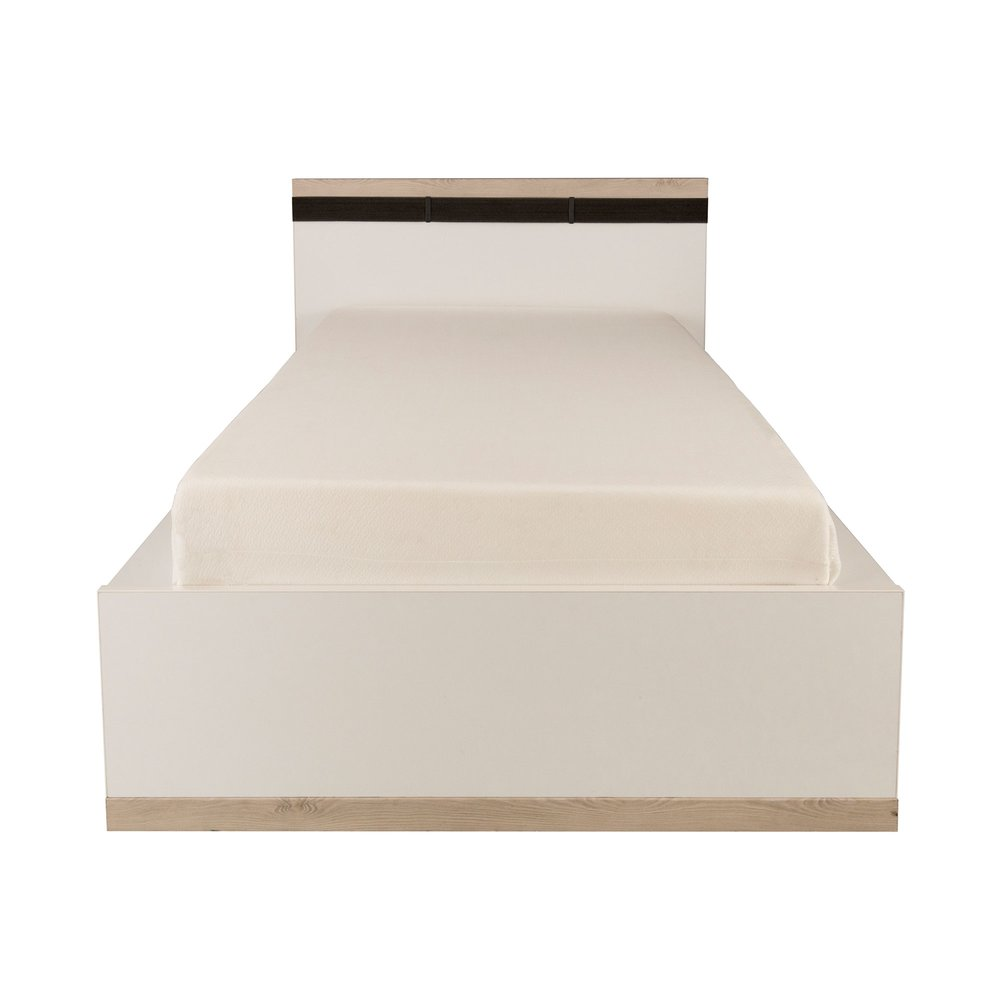 Lit - Lit 90x200 cm pin blanchi et blanc - ROXANE photo 1