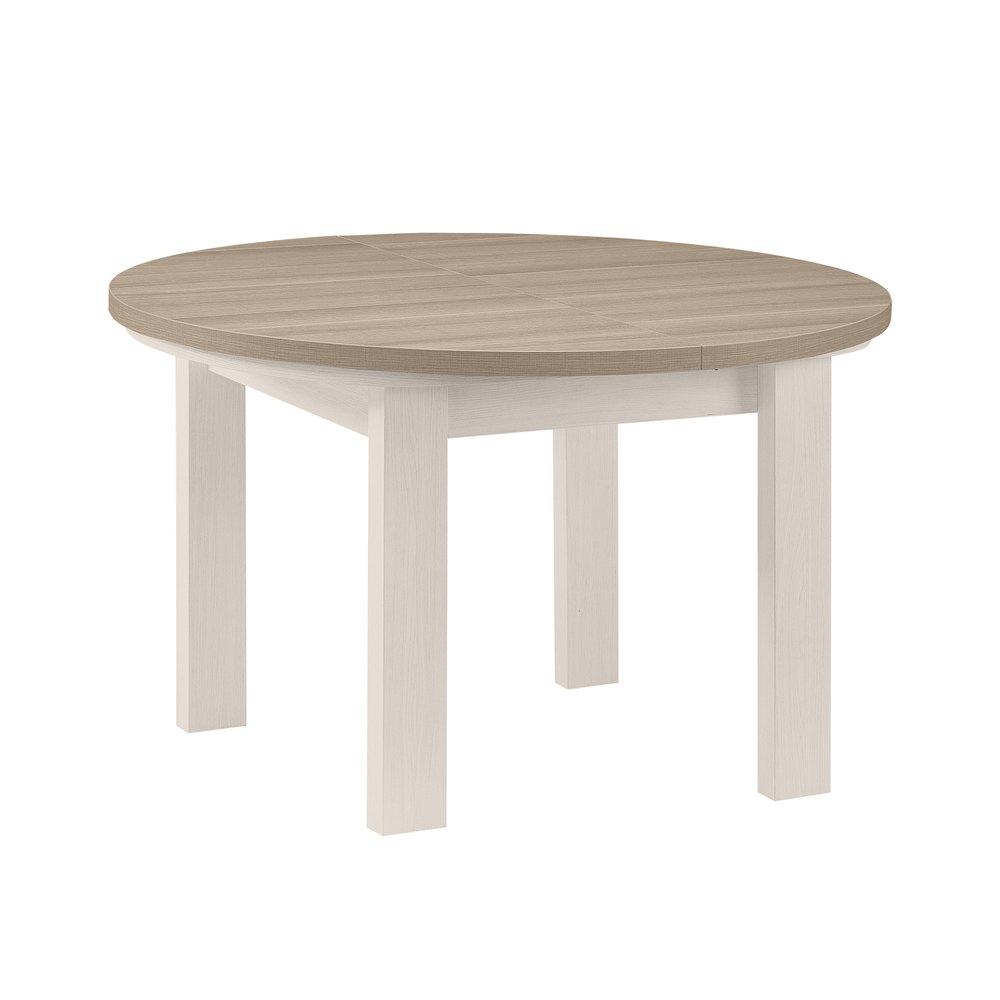 Table - Table ronde + 1 allonge blanc et plateau naturel - CASSANDRE photo 1