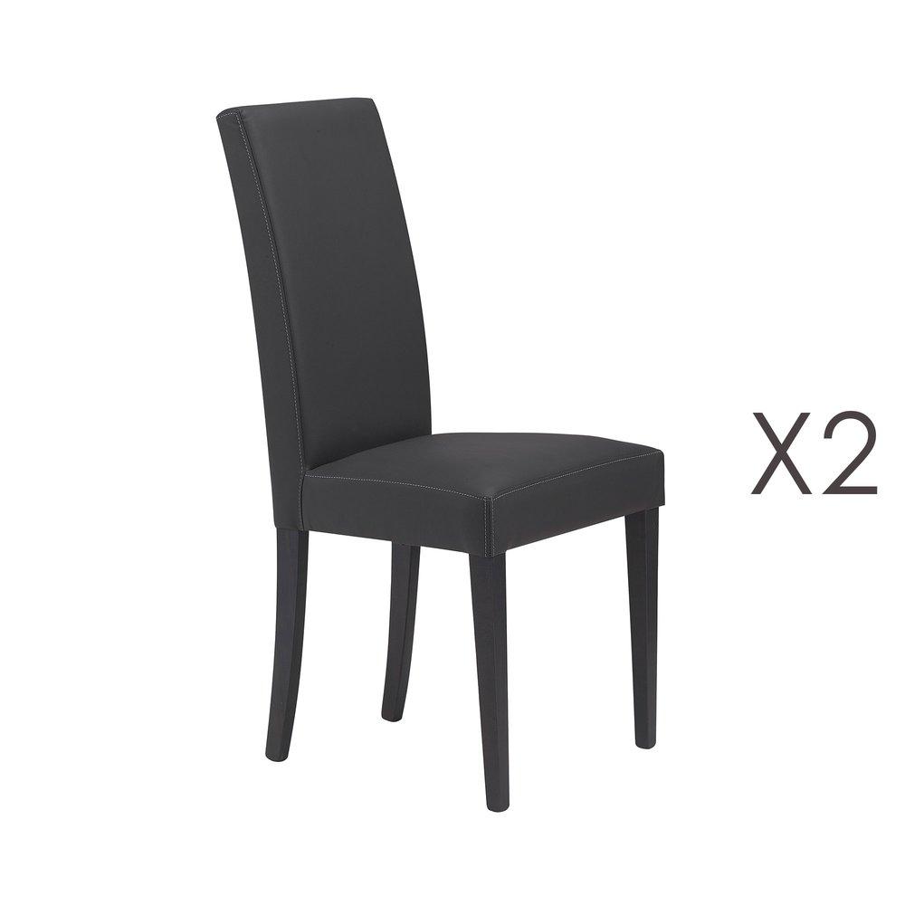 Chaise - Lot de 2 chaises gris anthracite - ARIZONA photo 1