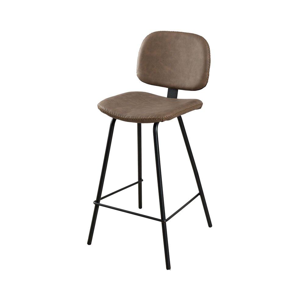 Tabouret de bar - Lot de 2 chaises de bar en PU marron - GUSTAVE photo 1